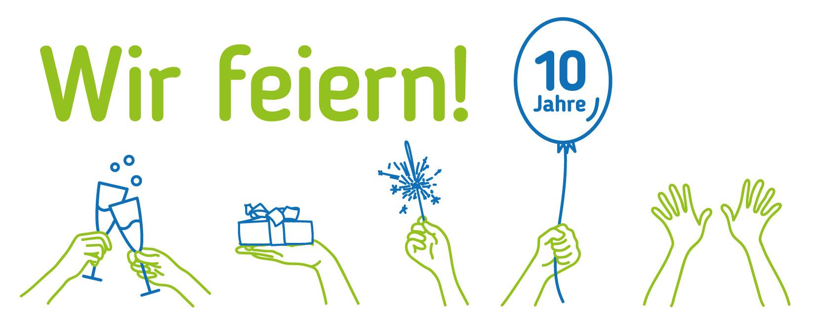 Illustration zum 10-jährigen Jubiläum der Servicestelle Persönliche Assistenz Vorarlberg