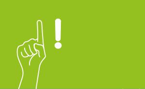 Illustration einer Hand mit einem Rufzeichen daneben