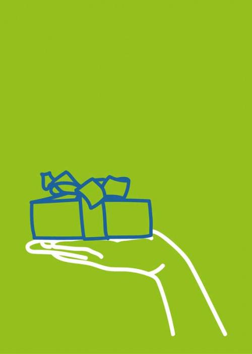 Illustration mit einer Hand, die ein kleines Paket hält